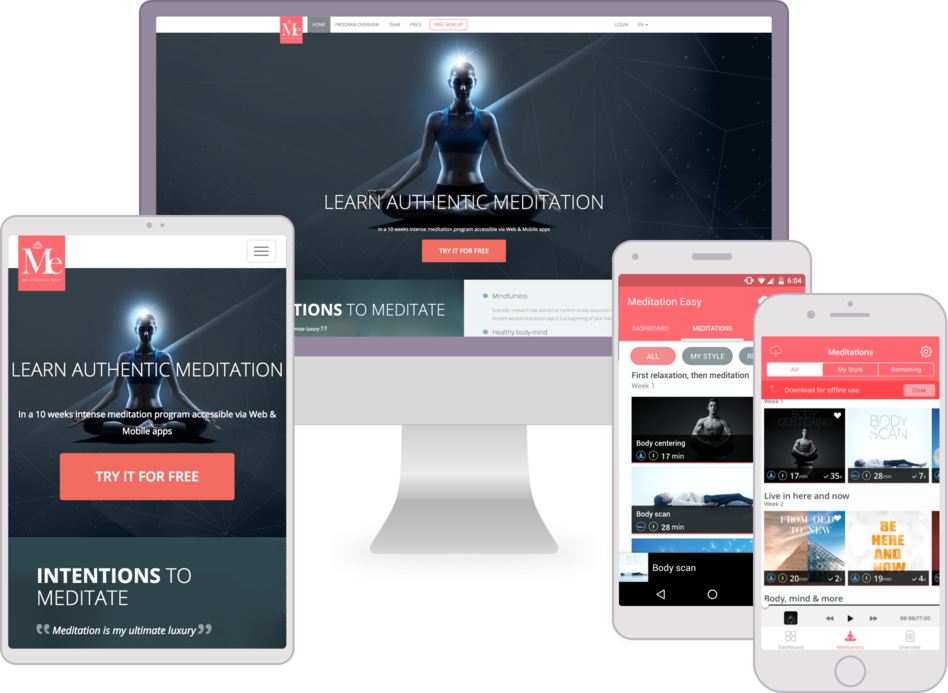 Mobile applications development and web application development for Meditation Easy