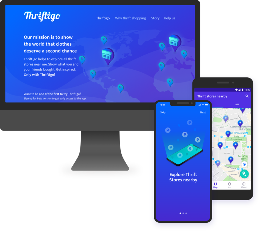 Mobile apps development for iOS and Android and landing page for Thriftigo