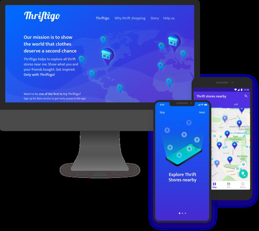 Vývoj mobilních aplikací pro iOS a Android a prezentační web pro Thriftigo